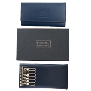 Leather key wallet blue