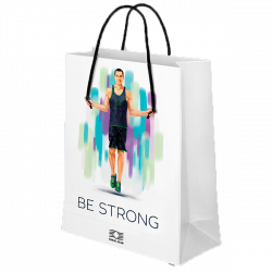 "Laminated paper bag ""BE STRONG"""